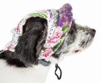 Pet Life HT8FLLG Botanic Bark Floral UV Protectant Adjustable Fashion Canopy Brimmed Dog Hat