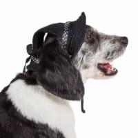 Pet Life HT10BKMD Sea Spot Sun UV Protectant Adjustable Fashion Mesh Brimmed Dog Hat Cap, Bla
