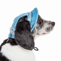 Pet Life HT10BLLG Sea Spot Sun UV Protectant Adjustable Fashion Mesh Brimmed Dog Hat Cap, Blu