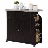 Hodedah Kitchen Island Cabinet Drawer Storage with Spice & Towel Rack, Chocolate - 1 Piece