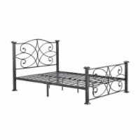 Complete Metal Twin Size Bed in Black Silver - Hodedah - 1