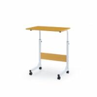Hodedah Adjustable Height Wood Top Laptop Desk on Wheels in Beech - 1
