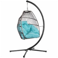 Patio Hanging Egg Chair Swing X-Large Cushion Include Stand, Blue - 1 Unit