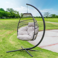 Deluxe Hanging Egg Chair Swing Soft Deep Cushion Outdoor Deck Lounge - 1 Unit