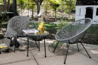 Barton 3pcs Acapulco Chair Set w/ Glass Top Table All-Weather Patio Set, Grey