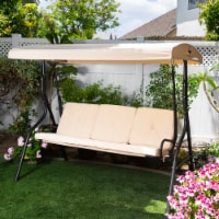Outdoor 3-Seater Patio Porch Swing Chair Adjustable Canopy W/ Cushion - 1 Unit