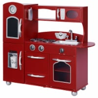 Red Wooden Toy Kitchen with Fridge Freezer and Oven by Teamson Kids TD-11414R - 1