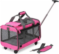 KOPEKS Pet Carrier with Detachable Wheels for Small and Medium Dogs & Cats - Heather Pink - 1