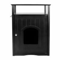 Zoovilla PTH0951721710 Cat Washroom Litter Box Cover & Night Stand Pet House, Black
