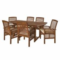7 Piece Acacia Patio Dining Set in Dark Brown - Walker Edison - 1