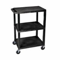 Luxor Tuffy Utility Cart - Three Shelves, Black - 1