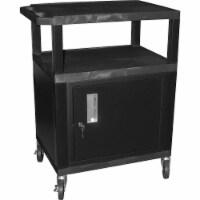 """Luxor -B - 34""""H AV Cart - 3 Shelves, Cabinet, Electric - Black Legs - 1 unit"""