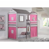 Donco kids PD-1370TTLG-P Deer Blind Twin Over Twin Bunk Loft with Pink Tent - Light Gray