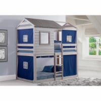 Donco kids PD-1370TTLG-B Deer Blind Twin Over Twin Bunk Loft with Blue Tent - Light Gray