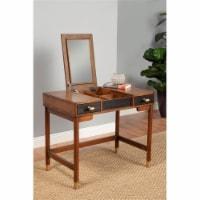 Alpine Furniture Belham Wood Bedroom Vanity in Dark Walnut (Brown)  & Black - 1