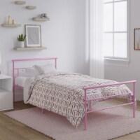 Rack Furniture Seattle Steel Twin Size Bedroom Furniture Kid Bed Frame, Pink - 1 Unit