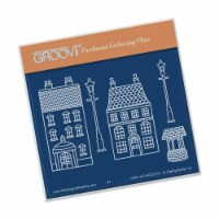 Groovi Wee Houses & Lamp Posts Plate A6 Sq - 1