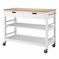 Trinity TBFLWH-1407 48 in. Bamboo Kitchen Island with Drawers, White - 36.25 x 47.25 x 20 in.