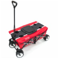 Creative Outdoor Sport All-Terrain Folding Wagon w/Tabletop Cooler - Red