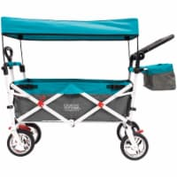 Creative Outdoor Silver Series Push Pull Folding Wagon Stroller with Canopy - Teal