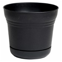 Bloem SP1000 Saturn Indoor Outdoor 10 Inch Planter Pot w/ Attached Saucer, Black - 1 Piece