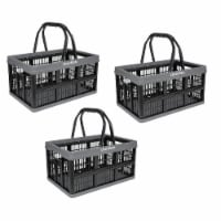 CleverMade CleverCrate 16 Liter Collapsible Shopping Basket, Charcoal (3-Pack)