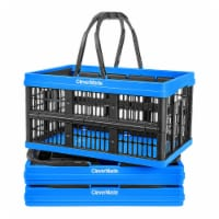 CleverMade CleverCrate 16L Collapsible Shopping Basket, Neptune Blue (3-Pack)