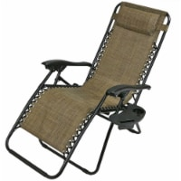 Sunnydaze Brown Zero Gravity Outdoor Lounge Chair with Pillow and Cup Holder - 1 gravity chair