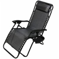 Sunnydaze Charcoal Zero Gravity Outdoor Lounge Chair with Pillow and Cup Holder - 1 gravity chair