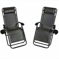 Sunnydaze Charcoal Zero Gravity Chair with Pillow and Cup Holder - Set of 2 - 2 gravity chairs