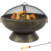 """Sunnydaze 30"""" Fire Pit with Copper Finish Firebowl with Handles and Spark Screen"""