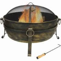 """Sunnydaze 34"""" Fire Pit Steel Cauldron Design with Spark Screen and Fire Poker"""