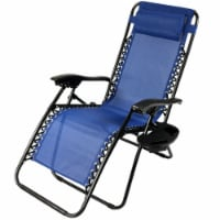 Sunnydaze Zero Gravity Lounge Chair with Pillow and Cup Holder - Navy Blue - 1 gravity chair