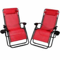 Sunnydaze Oversized Zero Gravity Lounge Chairs and Cup Holders - Set of 2 - Red