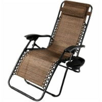 Sunnydaze Zero Gravity Lawn Lounge Chair with Pillow and Cup Holder - Dark Brown - 1 gravity chair