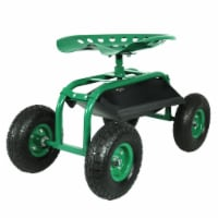 Sunnydaze Rolling Garden Cart with 360-Degree Swivel Seat & Tool Tray - Green - 1 unit(s)