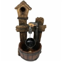 """Sunnydaze Bird House Leaking Pipe Outdoor Water Fountain 29"""" Water Feature w/LED"""