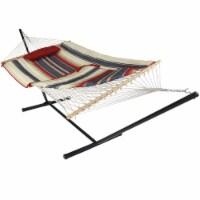 Sunnydaze Cotton Rope Hammock w/ 12' Steel Stand - Pad & Pillow - Modern Lines - 1 cotton rope hammock