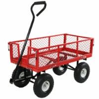 Sunnydaze Steel Utility Cart w/ Removable Folding Sides Red - 400-Pound Capacity - 1 utility cart