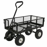 Sunnydaze Steel Utility Cart w/ Removable Folding Sides Black - 400-lb Capacity - 1 utility cart