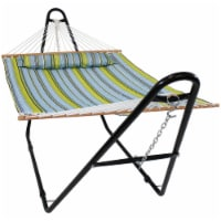 Sunnydaze Blue and Green Quilted Fabric Hammock with Multi-Use Universal Stand