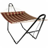 Sunnydaze Quilted 2-Person Hammock with Universal Steel Stand - Red Stripe