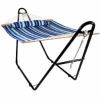 Sunnydaze Quilted 2-Person Hammock with Universal Steel Stand - Catalina Beach - 1 quilted hammock