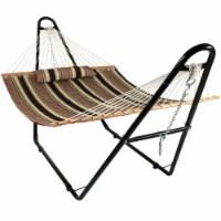 Sunnydaze Quilted Hammock w/ Universal Steel Stand -Sandy Beach-450-lb. Capacity - 1 quilted hammock