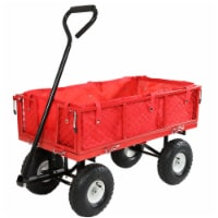 Sunnydaze Red Utility Cart with Folding Sides and Liner - 400-Pound Capacity - 1 utility cart; 1 liner