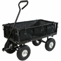 Sunnydaze Black Utility Cart with Folding Sides and Liner - 400-Pound Capacity - 1 utility cart; 1 liner