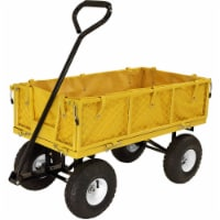 Sunnydaze Outdoor Yellow Utility Garden Cart with Folding Sides and Liner Set - 1 utility cart; 1 liner