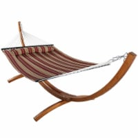 Sunnydaze Quilted 2-Person Hammock with 12' Curved Wood Stand - Red Stripe