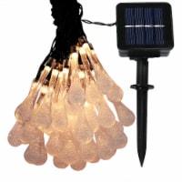 Sunnydaze 30-Count Warm White Water Drop LED Solar Fairy String Lights - 20' - 1 string of solar lights
