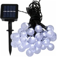 Sunnydaze Outdoor Solar-Powered 30-Count Patio Globe String Lights - White